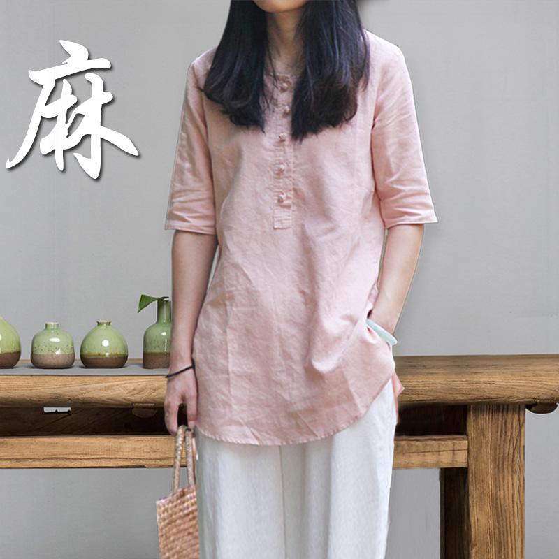 棉麻上衣女中长款2019夏宽松半袖亚麻女装纯苎麻大码白春季衬衫