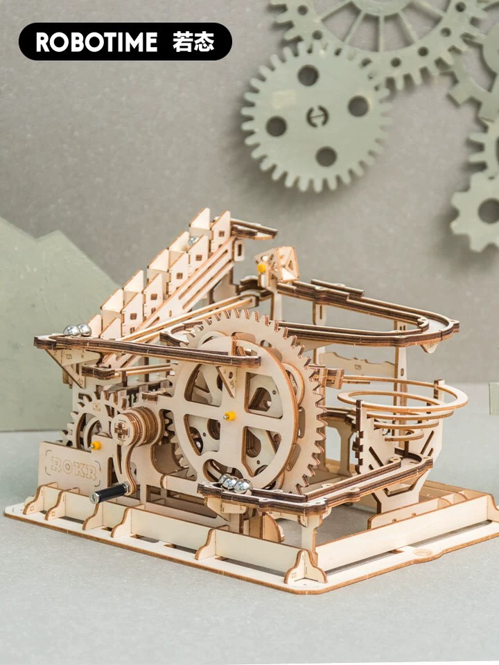 If state wooden mechanical assembly model creative manual DIY track ball hub base ladder fortress