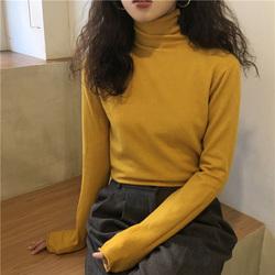 复古chic姜黄色针织衫女秋冬修身弹力软糯内搭打底鹅黄色高领毛衣