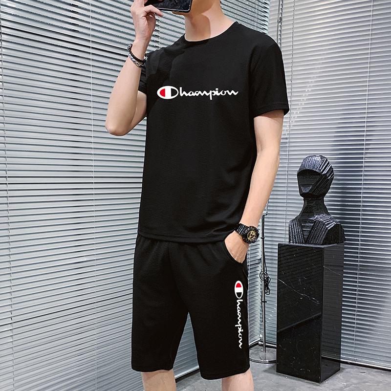 男士运动套装2021夏季新款潮流休闲短袖男装搭配帅气一套衣服夏装