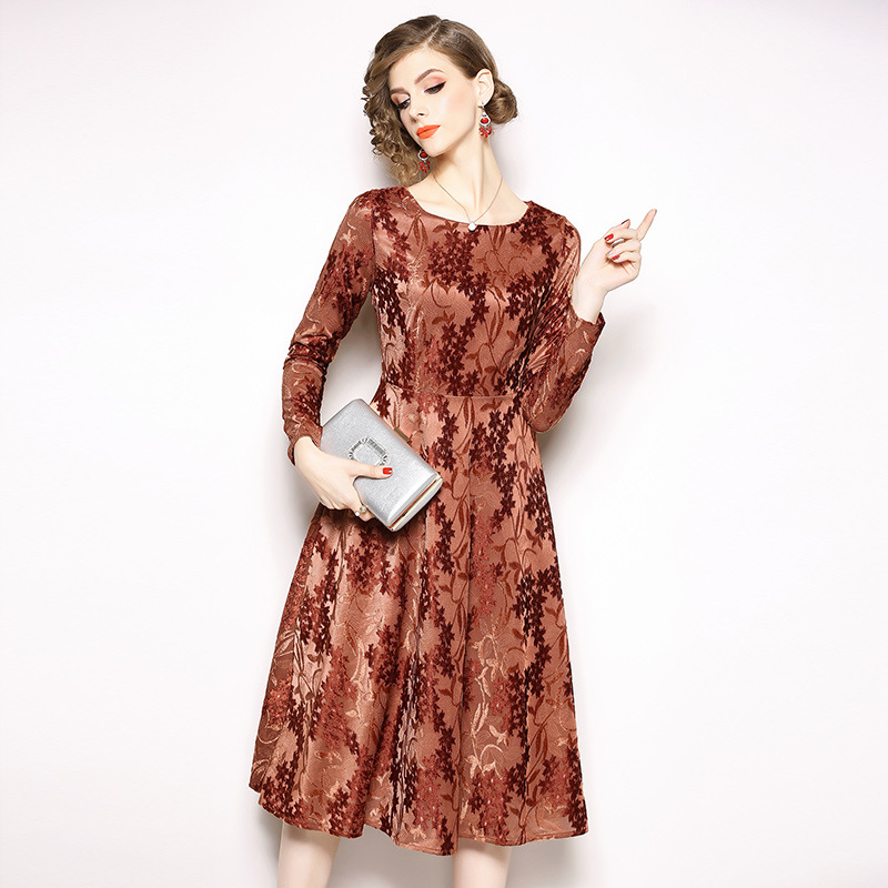 Spring 2019 commuting womens round neck mid length dress long sleeve jacquard velvet dress