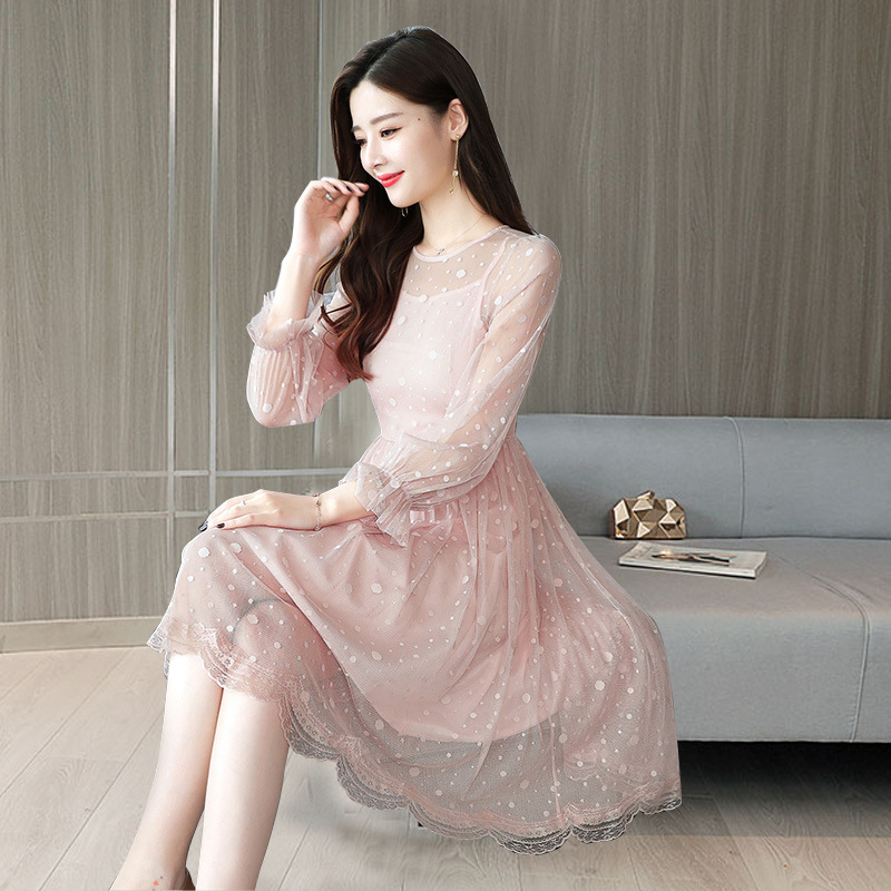 Hot selling 2019 popular new womens dress sweet lace splicing medium length dress womens wave point pompous skirt