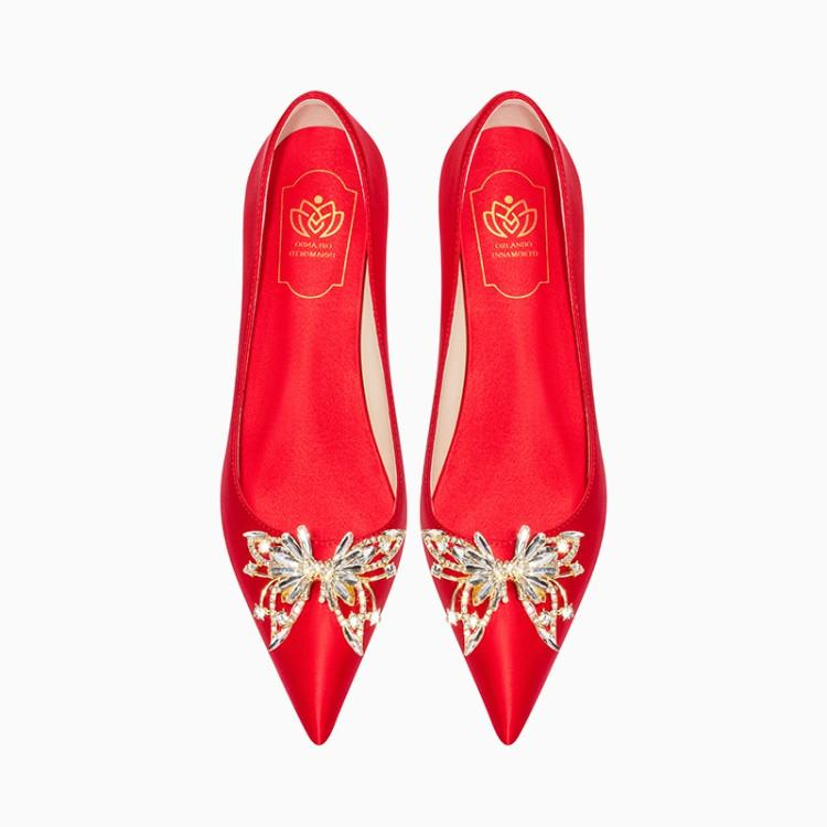 Silk French high heels womens pointed thin heel red wedding shoes natural silkworm silk banquet womens shoes brides shoes