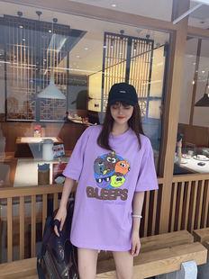 下體失蹤卡通紫色t恤女短袖超火後背破洞拼接撞色上衣寬鬆中長款