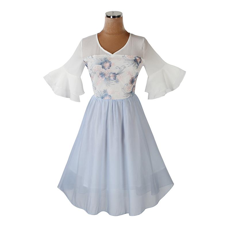 2020夏季绣花喇叭袖收腰显瘦连衣裙