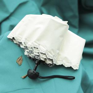 刺绣边五折小巧口袋黑胶女太阳伞