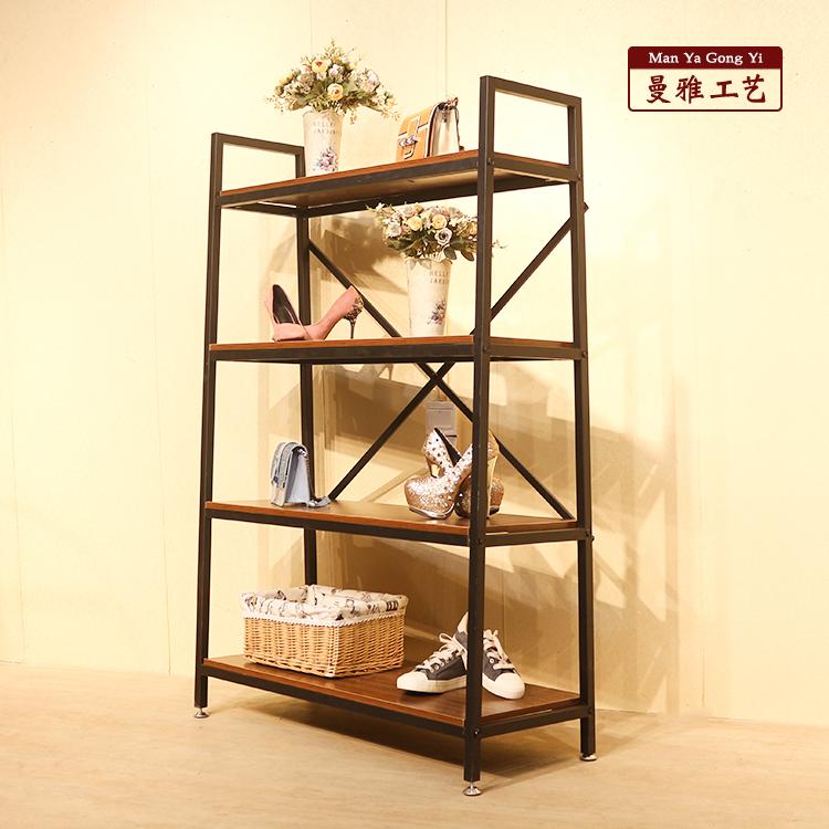 (用10元券)服装店鞋架包包置物陈列货架落地式复古铁艺中岛鞋架多层实木包柜