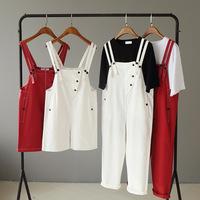 背带裤女2020夏季新款学院风闺蜜装纯色休闲五分裤设计感小众长裤