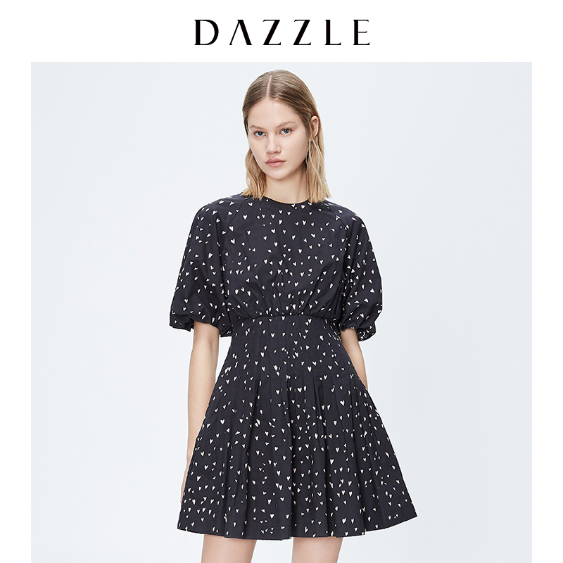 DAZZLE spring style puff sleeve love print long simple dress 2C3O4156A