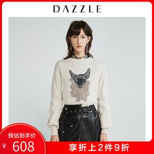 DAZZLE地素 2019秋冬专柜新款无毛猫刺绣针织打底毛衣女2G4E481