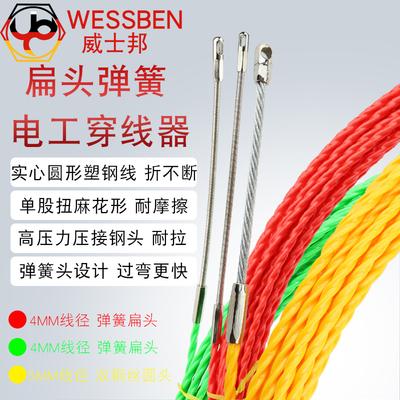WESSBEN弹簧扁头扭线穿线器电工电线网线暗装穿管拉线器拉引线器