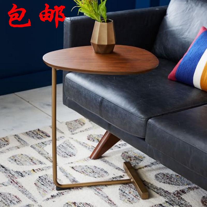 创意简约椭圆形小茶几 移动实木铁艺沙发边几角几 懒人床头阅读桌,可领取5元天猫优惠券