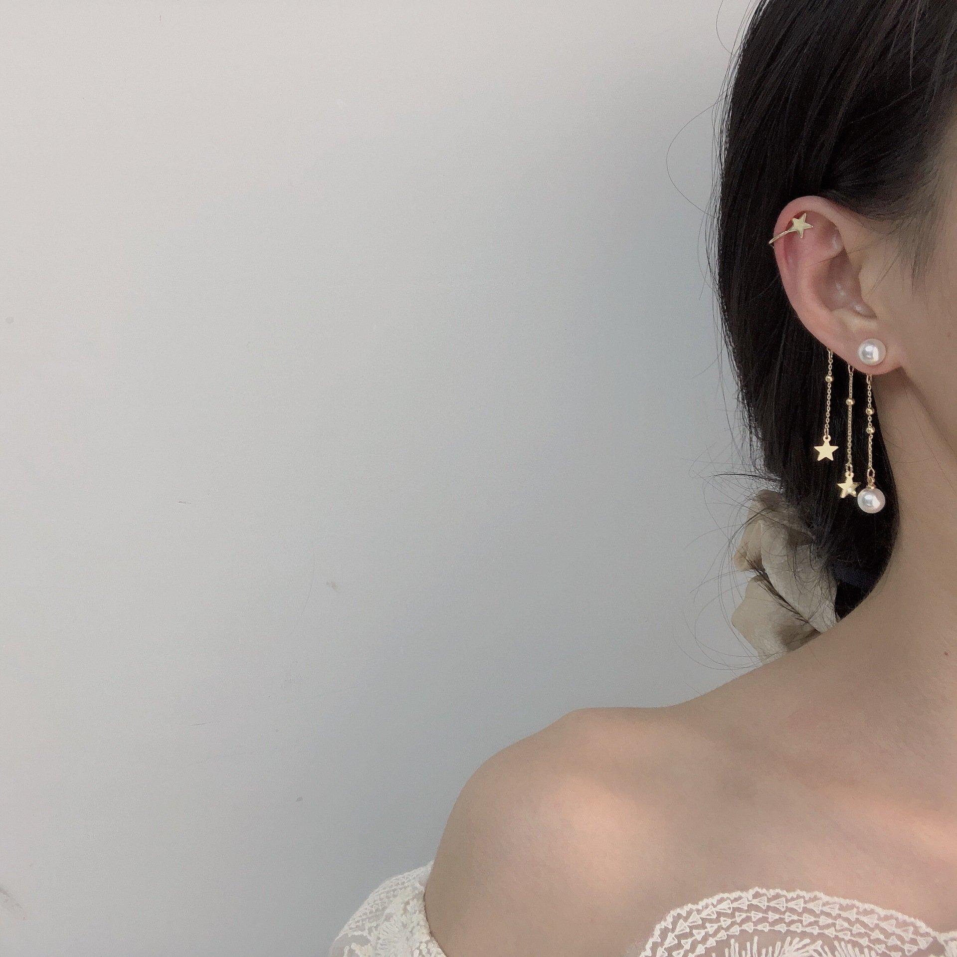 新鲜出炉日韩人气珍珠银针链条流苏个性单边耳钉耳骨夹一体式耳环图片