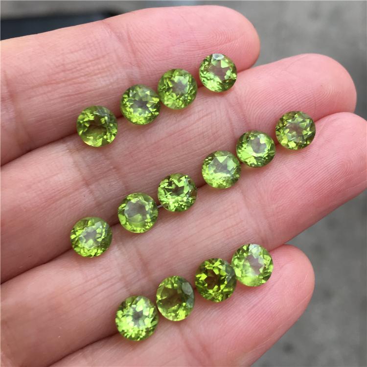 天然橄榄石裸石 刻面圆形2-8MM 同行拿货价 支持定制镶嵌