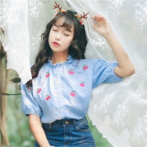 亚博娱乐平台入口 2018春新款 甜美樱桃衬衫学生荷叶边衬衣上衣女 8677