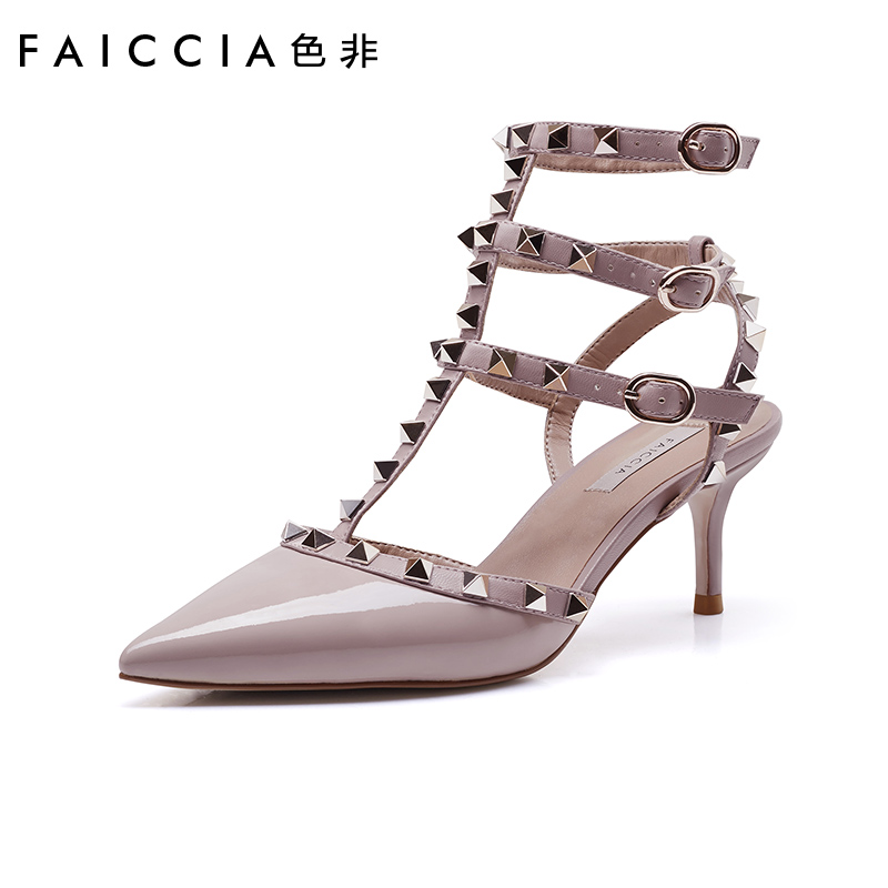 SEFI 2020 spring and summer new high-heeled shoes Baotou sandals women's Roman pointed riveted one word with back empty stiletto shoes