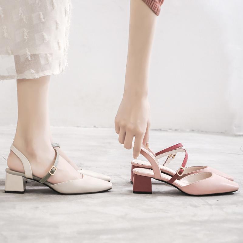 限6000张券2019新款韩版百搭包头配裙子的凉鞋女仙女风中跟小ck鞋一字带粗跟