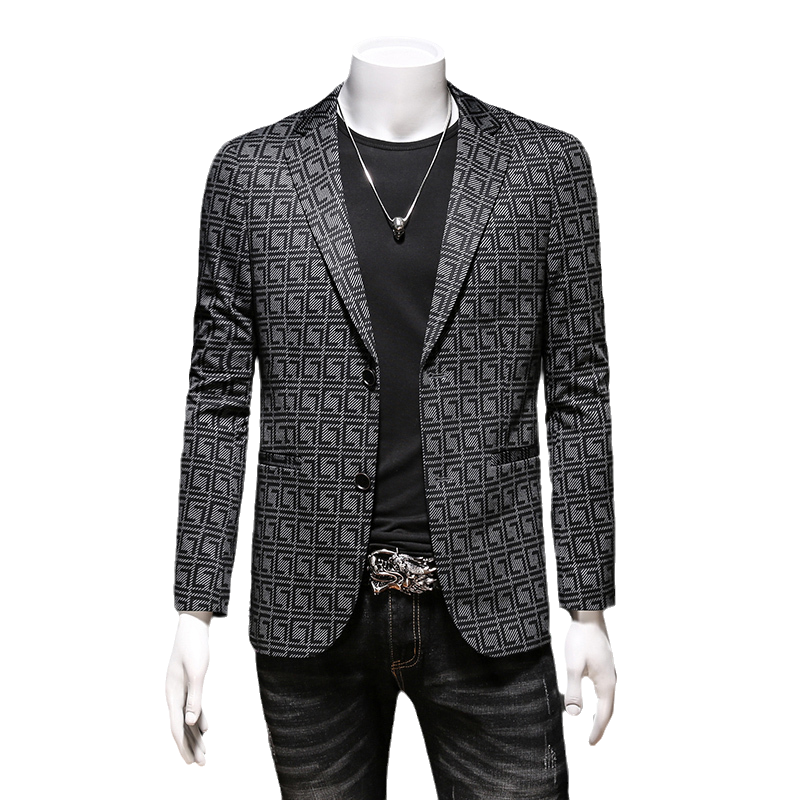 2021 spring new Plaid single breasted mens Blazer coat business casual suit casual top package