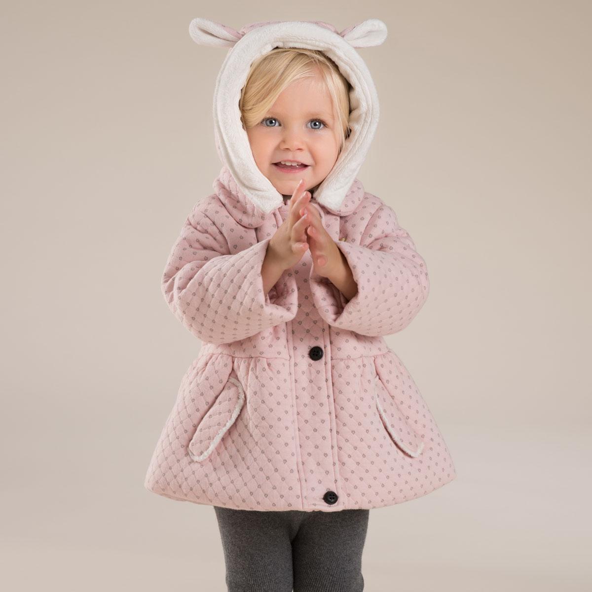 davebella戴維貝拉 女童 加厚棉服 女寶寶保暖棉衣 可脫帽CC