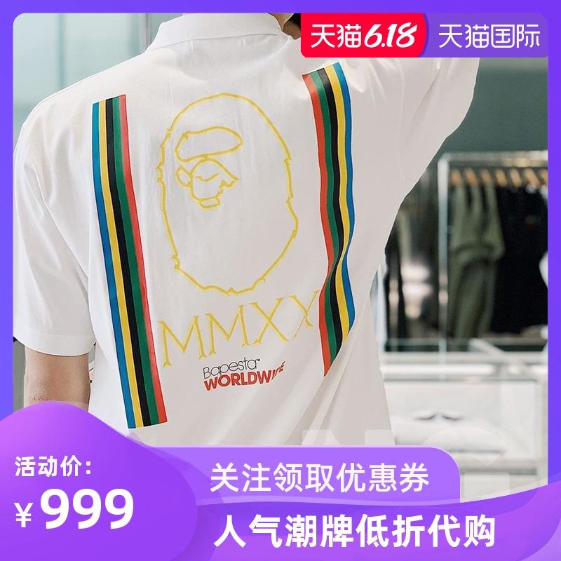 NG欢欢香港潮牌代购 BAPE 春夏休闲字母印花圆领短袖T恤男109003