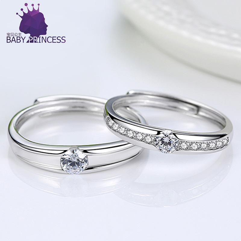 S925 Sterling Silver couple ring for men and women engagement with diamond zircon pair ring