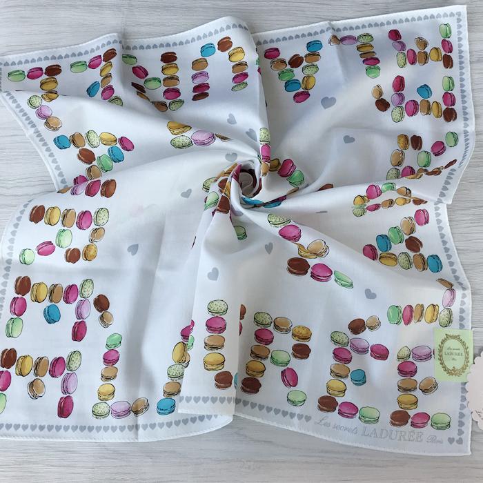 国内现货当天发日本制LADUREE拉杜丽大手帕纯棉手绢女士装饰领巾