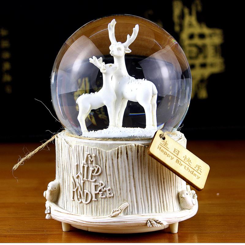 欧式熊鹿水晶球摆件音乐盒带雪花可发光可爱八音盒女生男生日礼物有赠品