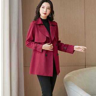 2021秋装新款大码女装胖mm显瘦200斤韩版加肥加大风衣双排扣外套
