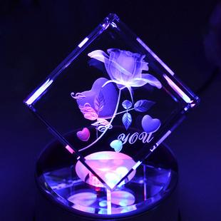 定制diy旋转蓝牙水晶球音乐盒八音盒浪漫玫瑰创意女生日礼物女孩