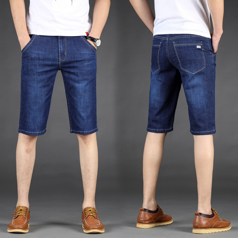 Summer thin mens Denim Shorts mens straight loose fattening oversize pants breathable stretch mens pants
