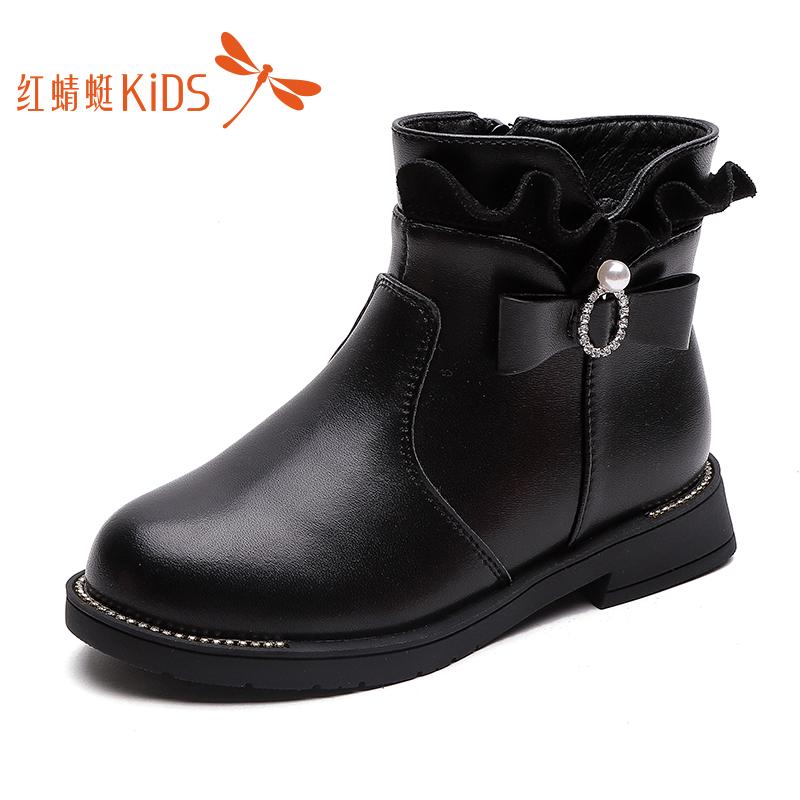 红蜻蜓童鞋2019冬季新款女童靴加绒公主棉靴真皮二棉靴子儿童短靴