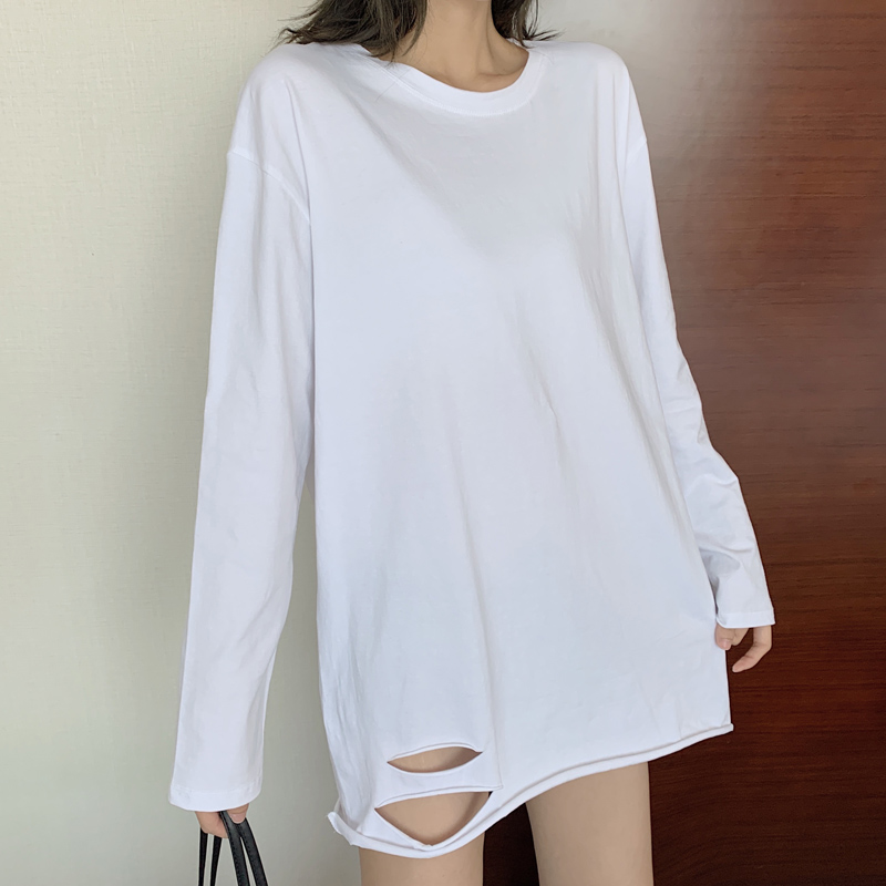 Korean version of INS bottom hole long sleeve T-shirt women's pure cotton white versatile bottoming shirt medium length loose top round neck
