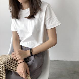 白色t恤女夏纯棉短袖修身纯白t体桖不透纯色基础款上衣内搭打底衫
