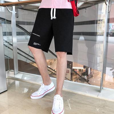 毛边运动短裤男潮流港风休闲裤夏季五分裤A382A-DK02-P38黑