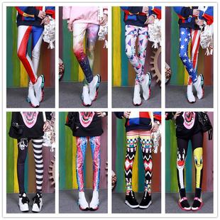 打底褲女外穿秋季薄款彈力印花彩色糖果色個性時尚緊身花褲子潮流