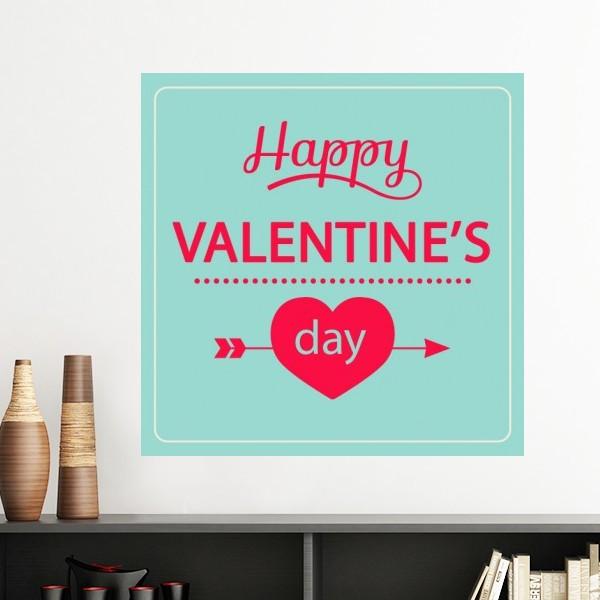 Happy Valentines Day pink green love arrow wall sticker wallpaper room Decal school kindergarten decoration