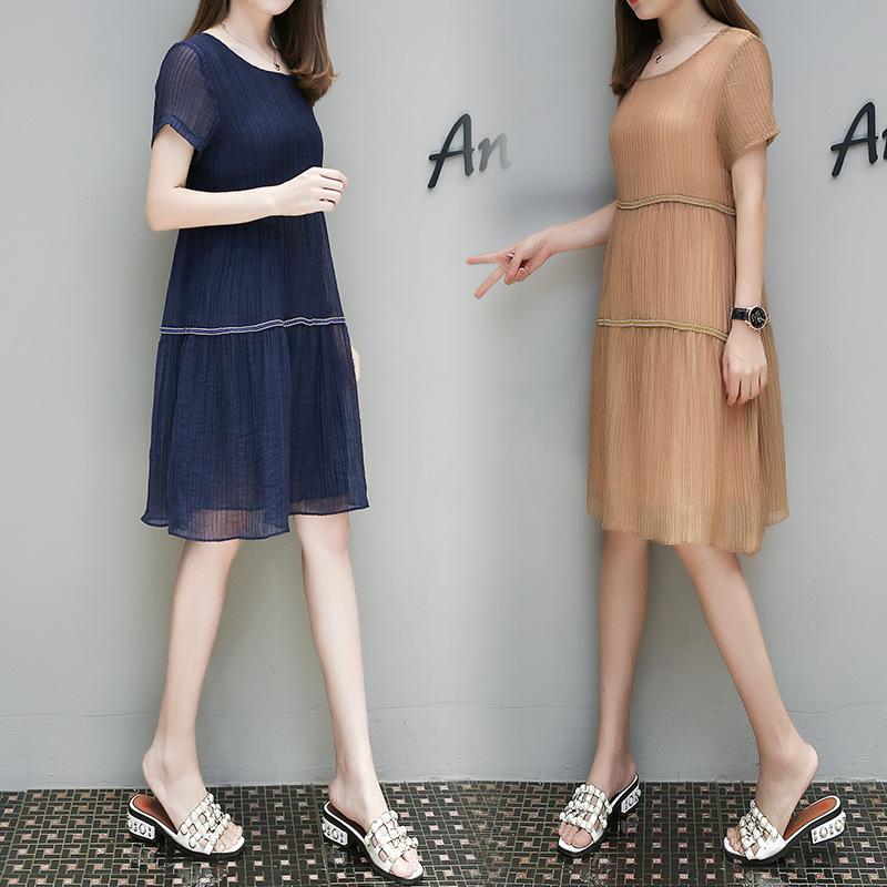 欧洲站热销夏新款女装韩版宽松显瘦高腰气质大码中长款A字连衣裙