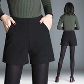 新款羊毛毛呢短裤女装大码裤高腰百搭加厚靴裤松紧腰内里阔腿裤子