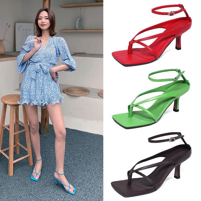 Bv high heels womens white square toe clip one-way belt versatile summer thin heel leather Roman herringbone clip foot sandals