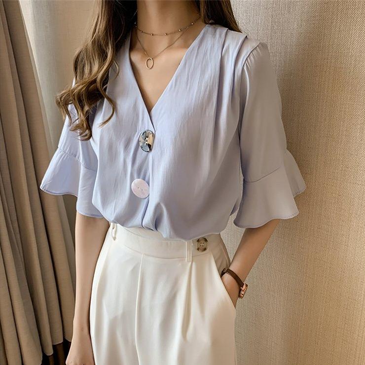 夏裝2019新款時尚韓版V領雪紡衫女寬松很仙的上衣洋氣短袖襯衣潮