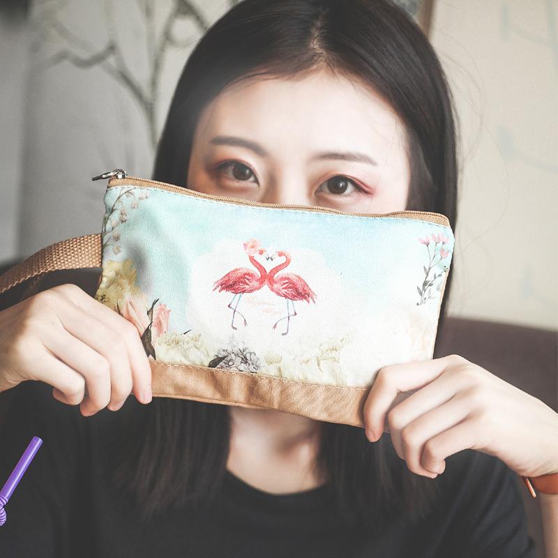 Big screen mobile phone bag lady Korean cartoon cute zero wallet Canvas Handbag zipper pocket large capacity