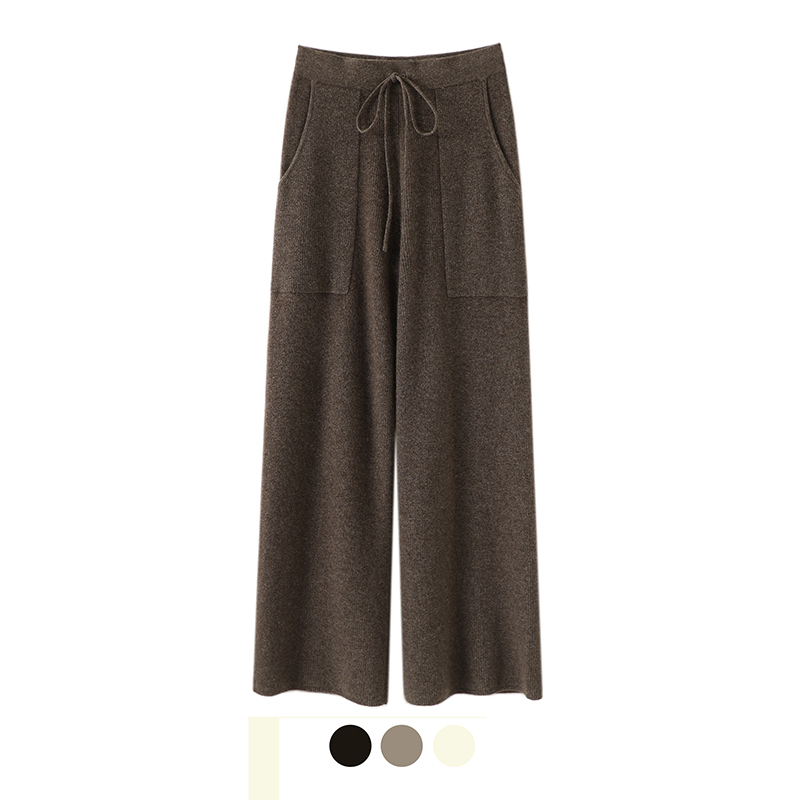 New pure cashmere straight tube wide leg trousers for womens warm outer wear knitted high waist pocket in autumn and winter 2020
