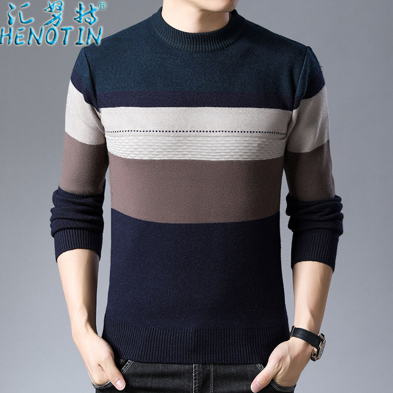 Huinute mens T-neck autumn winter Pullover mens sweater middle aged and elderly leisure sweater thickened warm dads clothes