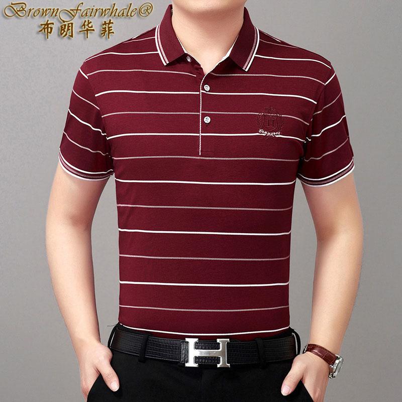 恤T中老年条纹商务休闲翻领体恤打底衫短袖白色酒红色时尚夏季