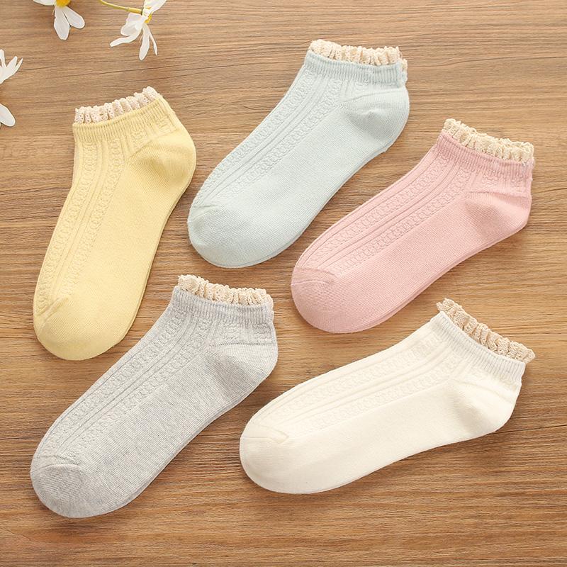 女士袜子短袜夏季韩版棉蕾丝花边女袜棉低帮浅口日系透气船袜可爱