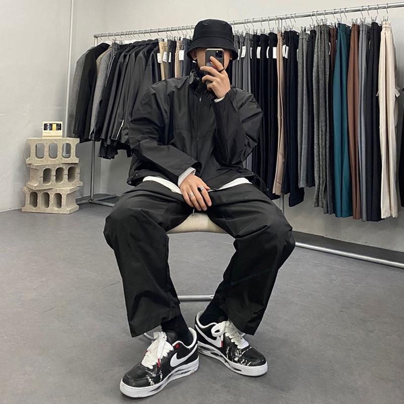 2020春秋新款韩版宽松立领纯色工装百搭休闲外套男黑色夹克男装