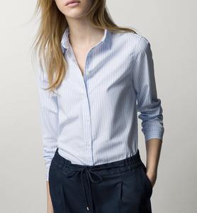 2020春季新款女装职业时尚OL天兰色白色粉色条纹百搭长袖衬衫舒适