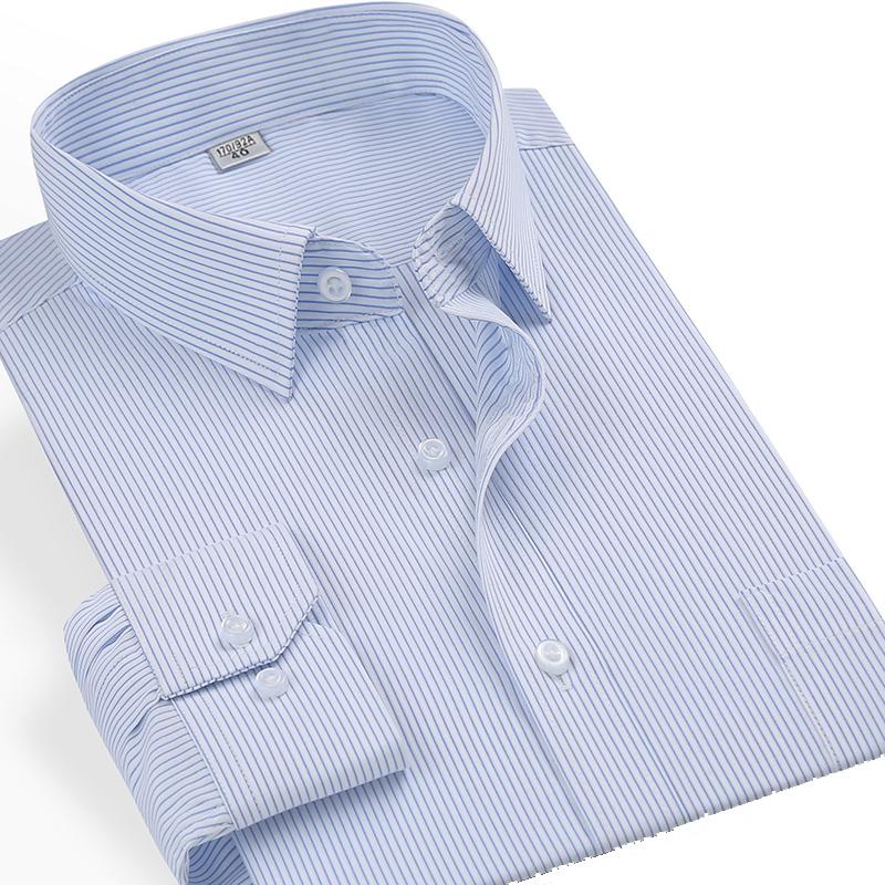 2021 mens cotton fattening oversize striped long sleeve shirt fat man loose cotton plaid shirt
