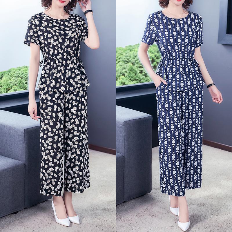 棉綢套裝女時尚外穿夏季兩件套短袖媽媽收腰印花大碼人造棉民族風
