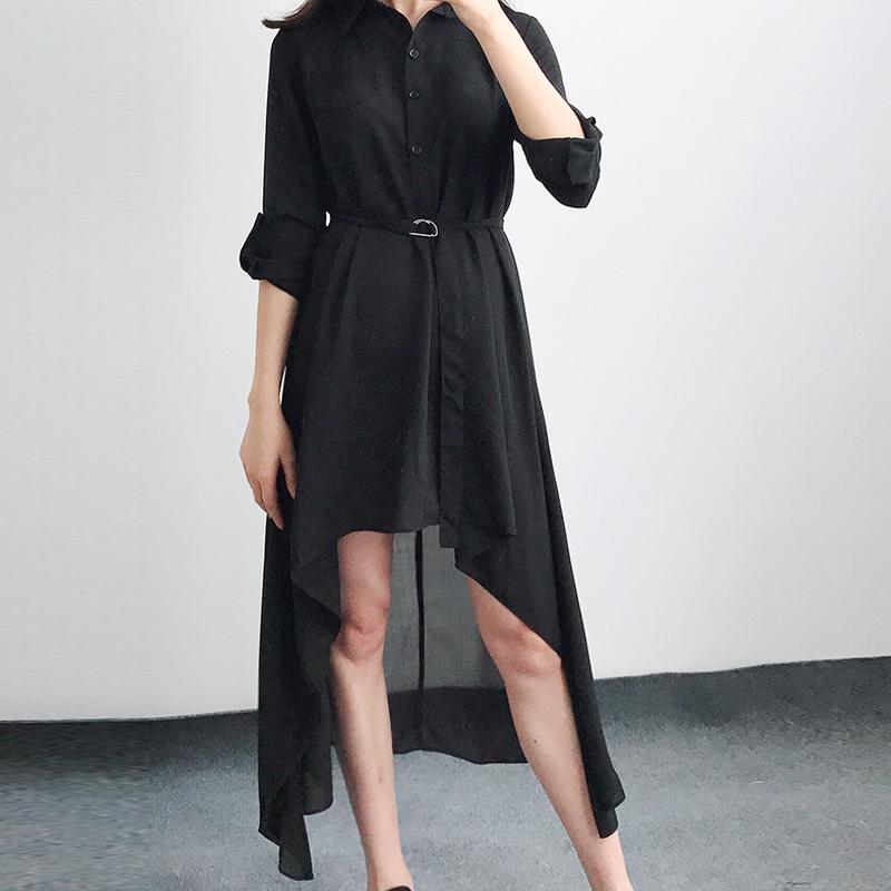 2020春季新款纯色长袖下摆宽松气质雪纺衬衫中长款连衣裙韩版潮流
